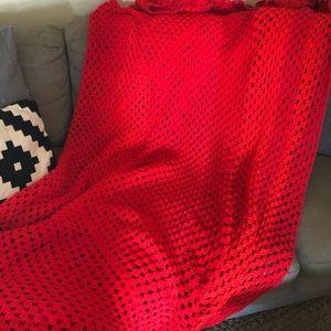 Vintage handmade red crochet Afghan queen blanket